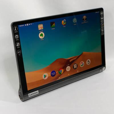 Lenovo Yoga Smart Tab ZA3V0052JPのスタンドで立てた状態
