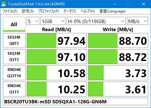 BSCR20TU3BK SDSQXA1-128G-GN6MA microSD Crystal Disk Mark