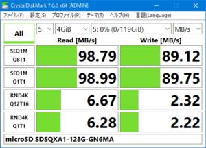SDSQXA1-128G-GN6MA Crystal Disk Mark 7.0で4GiBの速度