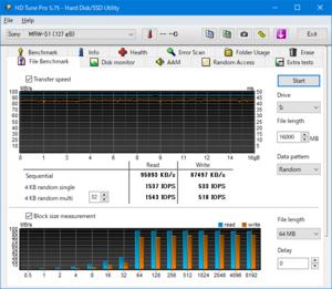 SDSQXA1-128G-GN6MA HDTune Pro 7.5で16GBの速度