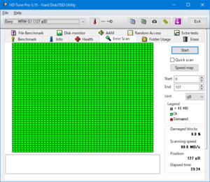 SDSQXA1-128G-GN6MA HDTune Pro 7.5で不良セクタがないか確認