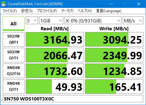 SN750 WDS100T3X0C Crystal Disk Mark 7.0 1GiB Gaming Mode OFF