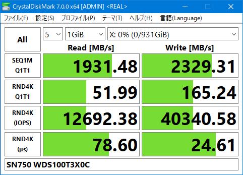 SN750 WDS100T3X0C Crystal Disk Mark 7.0 1GiB 現実性能 Gaming Mode OFF