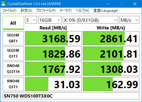 SN750 WDS100T3X0C Crystal Disk Mark 7.0 16GiB Gaming Mode OFF