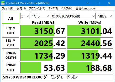 SN750 WDS100T3X0C Crystal Disk Mark 7.0 1GiB Gaming Mode ON