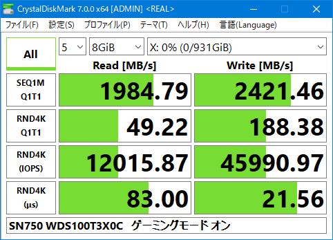 SN750 WDS100T3X0C Crystal Disk Mark 7.0 8GiB 現実性能 Gaming Mode ON